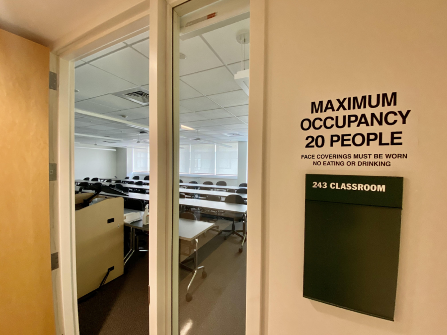 A classroom in the Antonucci Science Building showing the limited capacity of people allowed in the space at a time. Photo taken by Jordan Costa.